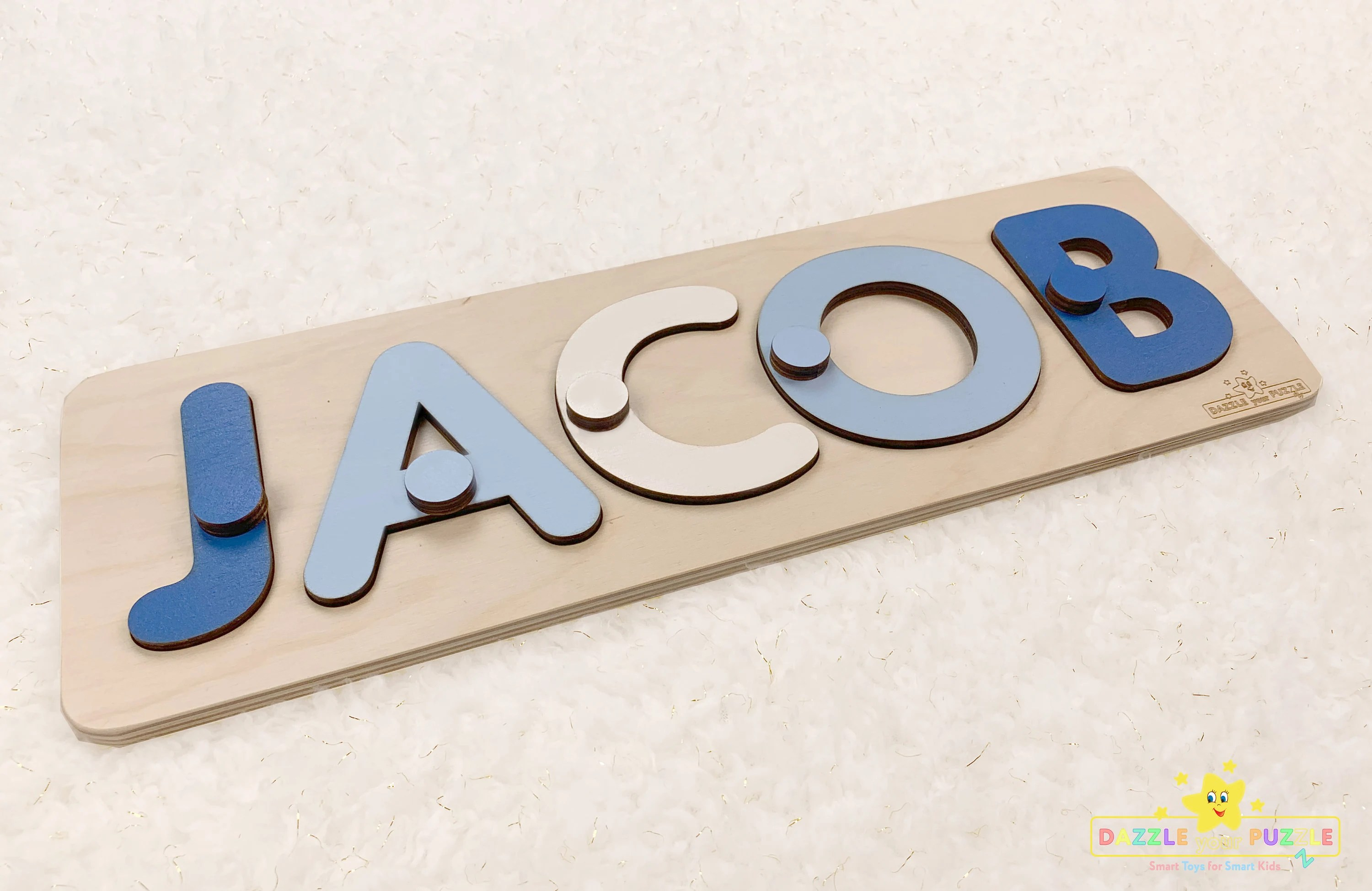 JACOB  Personalized Name Puzzle With Pegs  Montessori Toys image 1