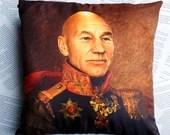 New Jean-Luc Picard Star Trek Sir Patrick Stewart vintage style soft cushion geek gift homeware pillow military