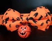 Cosy Book Cult Halloween dog collar and bow tie large familiar ghosts goth dogs pumpkin bell cute orange skulls spiders