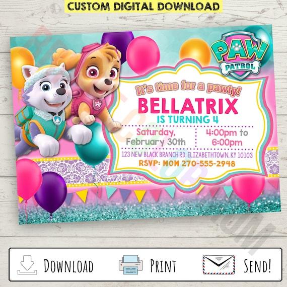 Custom Personalized Paw Patrol Birthday Invitation For Girls Etsy