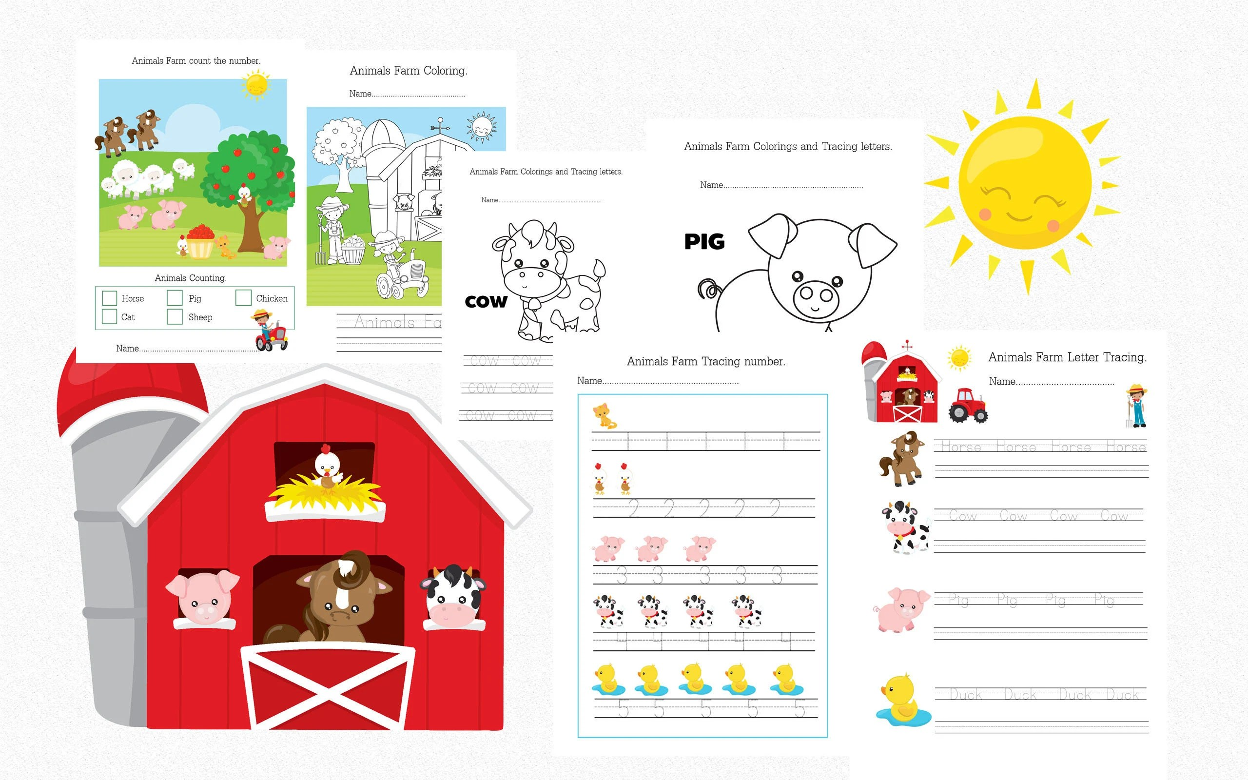 Printable Animals Farm Worksheets Tracing Words Tracing