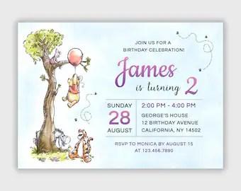 winnie the pooh invitations etsy