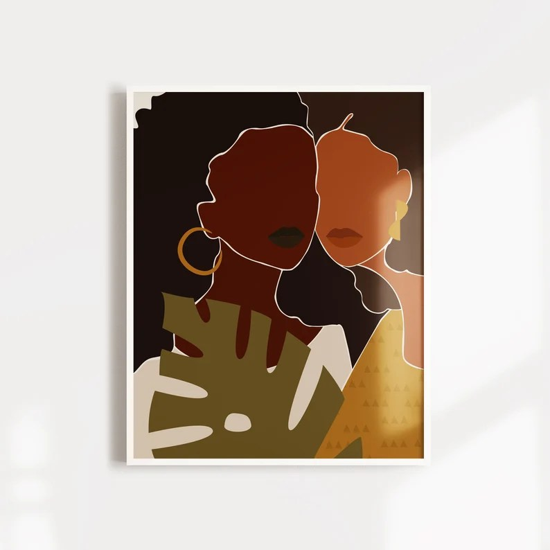 GIRLFRIEND  Black Girl Wall Art Afro Art Girl Power Print image 0