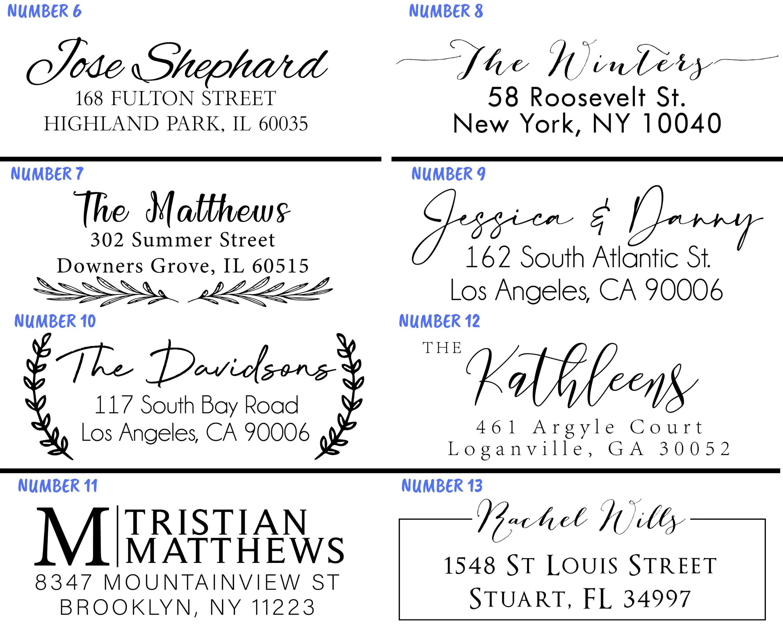 Personalized Return Address Stamp Self Ink 3 Line Modern Number 13