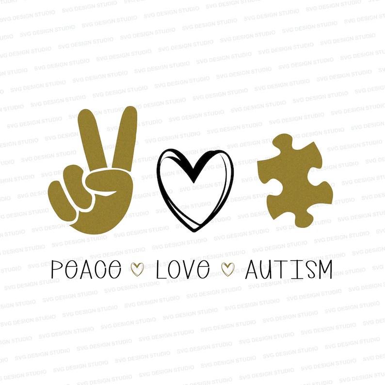 Download Peace Love Autism SVG / Autism Love Design / Autism and | Etsy