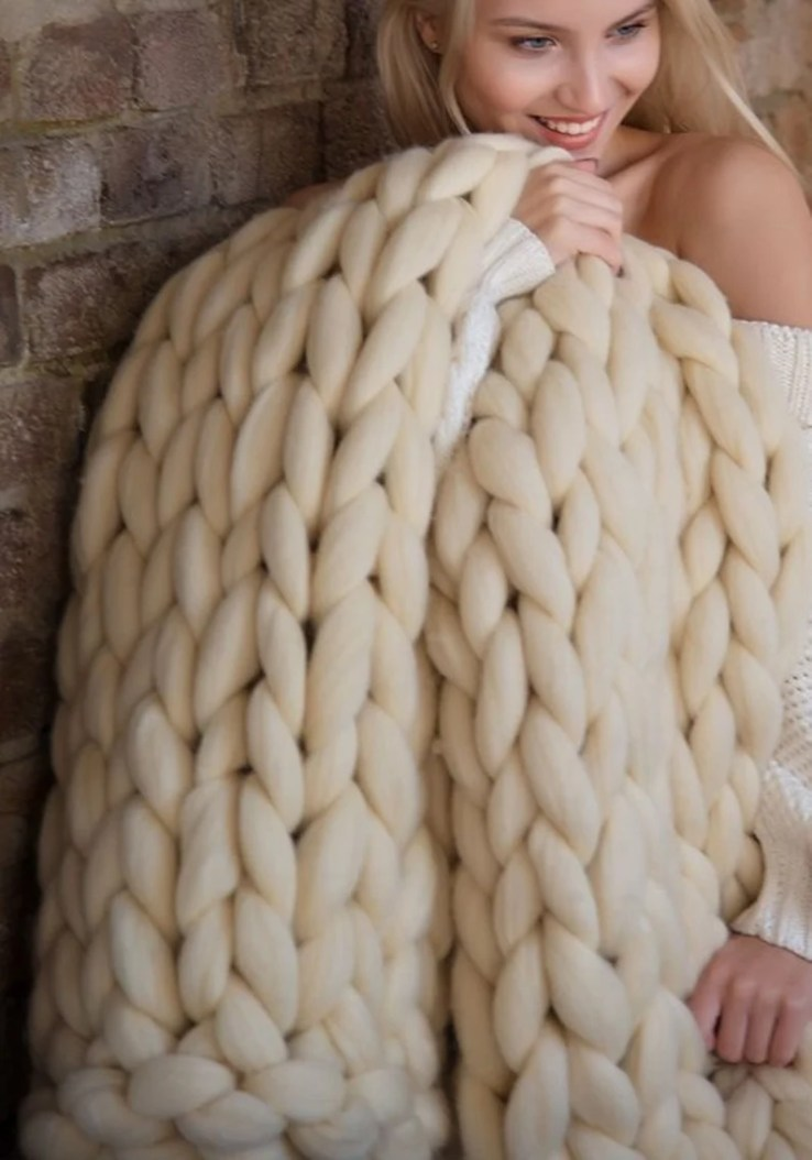 READY TO SHIP gifts for her  chunky knit blanket  Christmas image 0