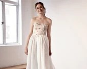 AMARANTH Wedding gown by Sheer Bride | Chiffon A line Floral Applique