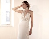 MYRTLE Wedding gown by Sheer Bride | Crepe Fit and Flare Illusion bodice