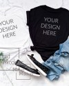 Bella Canvas 3001 Black And White Tshirt Mockup Black And Etsy