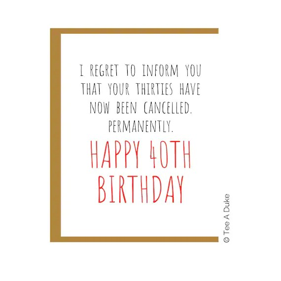 Funny 40th Birthday Card For Woman Man 40th Birthday Card For Etsy