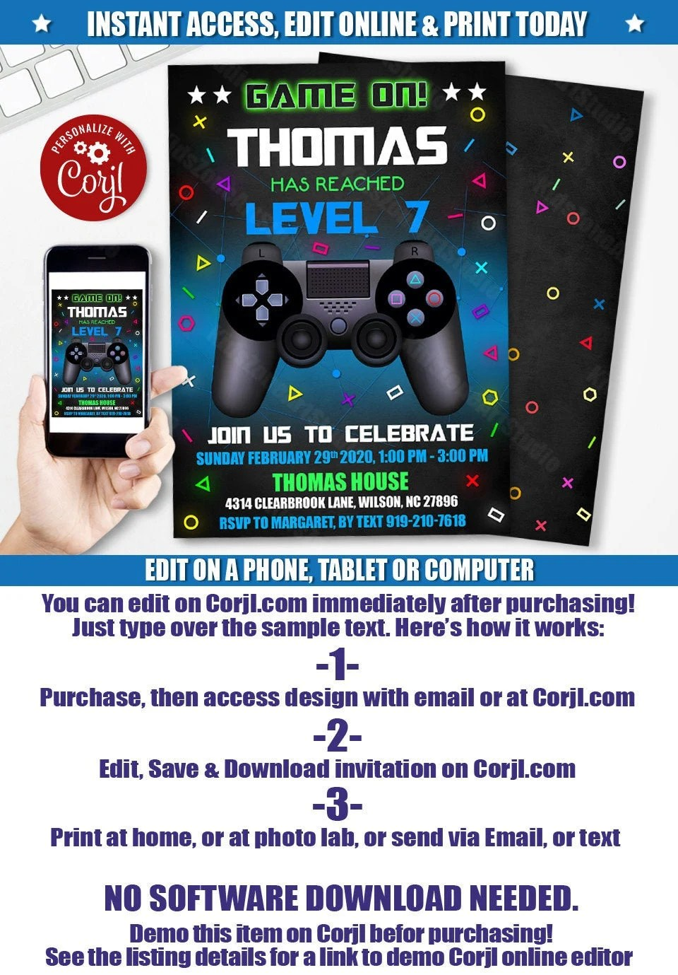 playstation invite etsy