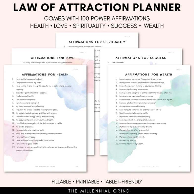 Law of Attraction Planner on Etsy
