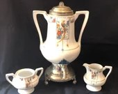 Royal Rochester Golden Pheasant Coffee Urn w/ sugar & creamer