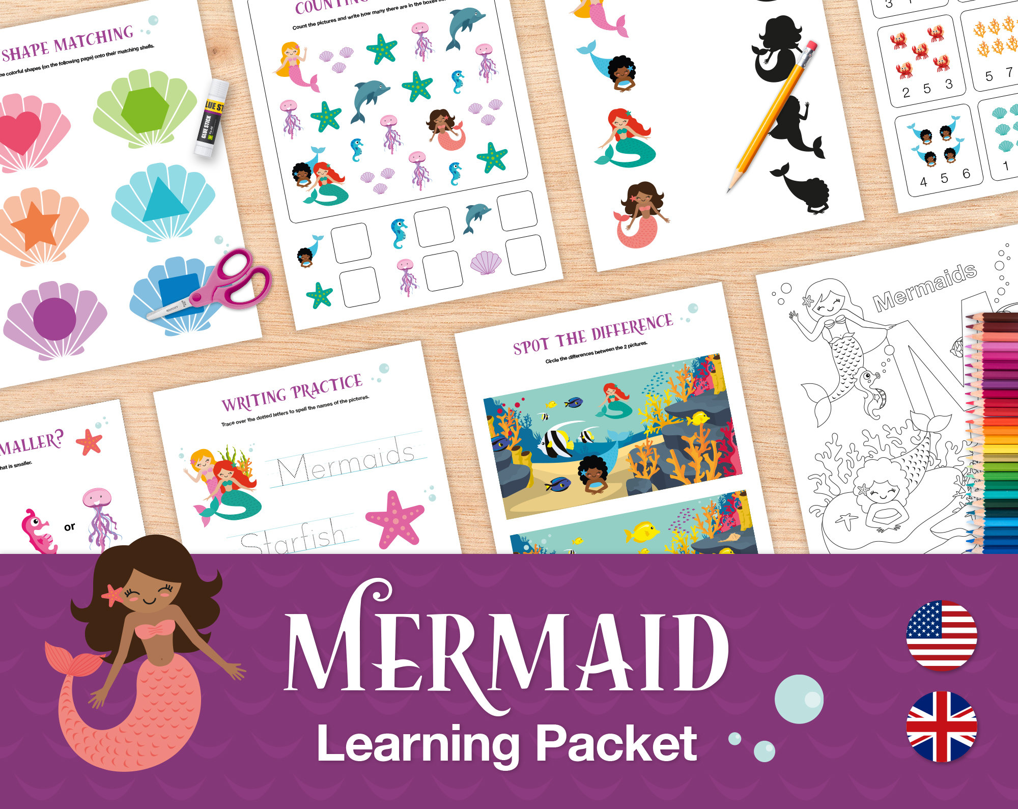 20 Mermaid Preschool Worksheets And Activities Printable