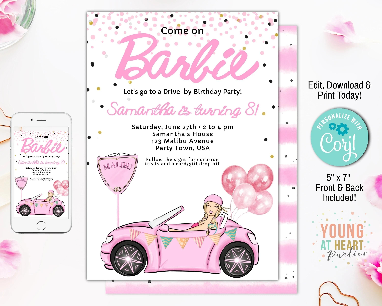 drive by girls birthday invite barbie birthday parade invitation pink barbie birthday party editable template girls quarantine birthday