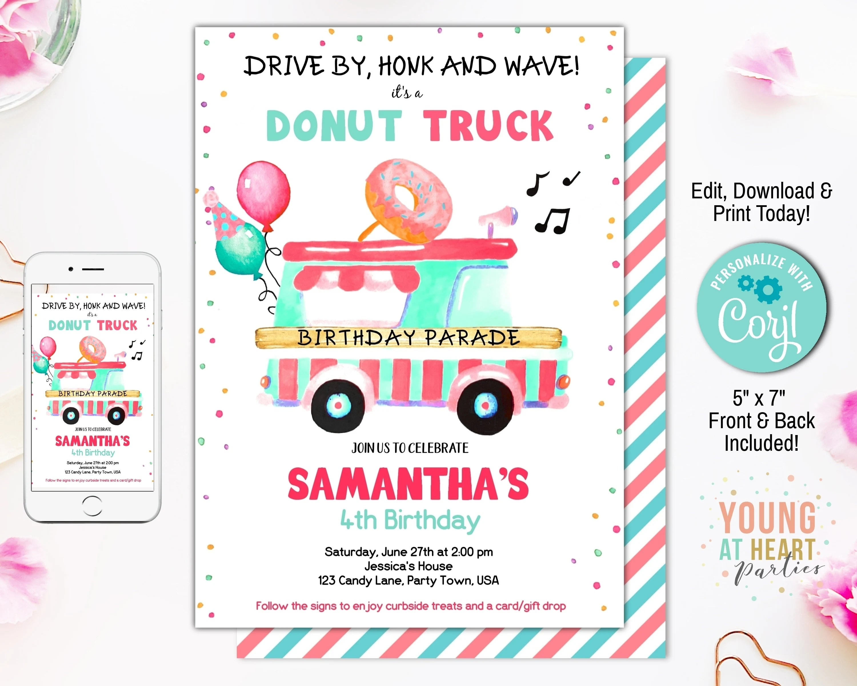 editable donut truck birthday
