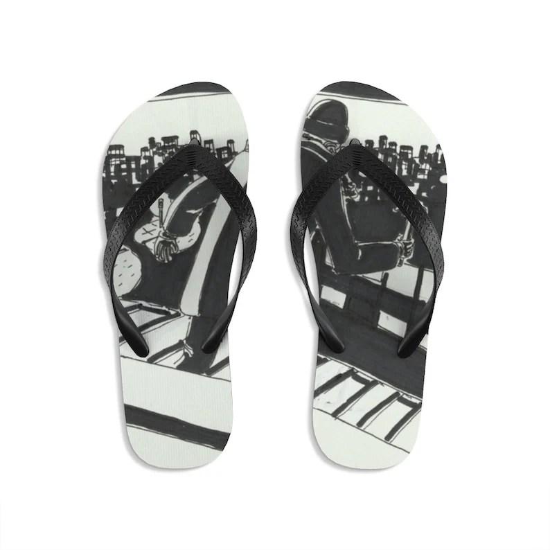 Cool Art Unisex Flip-Flops 7  Retro custom gift handmade pop image 0