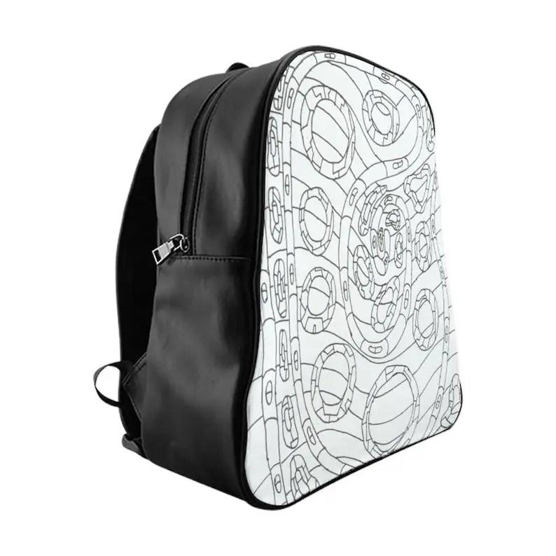 Cool Art PU Leather Backpack 3 sizes 14  Retro custom gift image 0