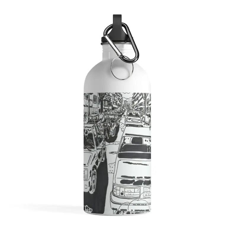 Cool Art Water Bottle 4  Retro custom gift pop art line art image 0
