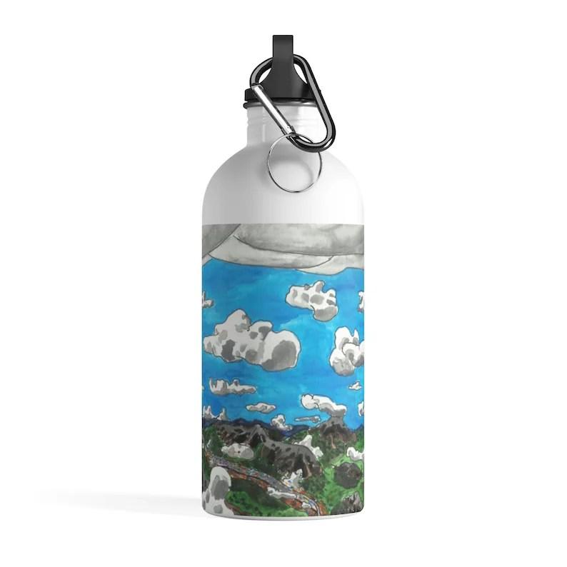 Urban Art Water Bottle 6  Retro custom gift pop art line image 0