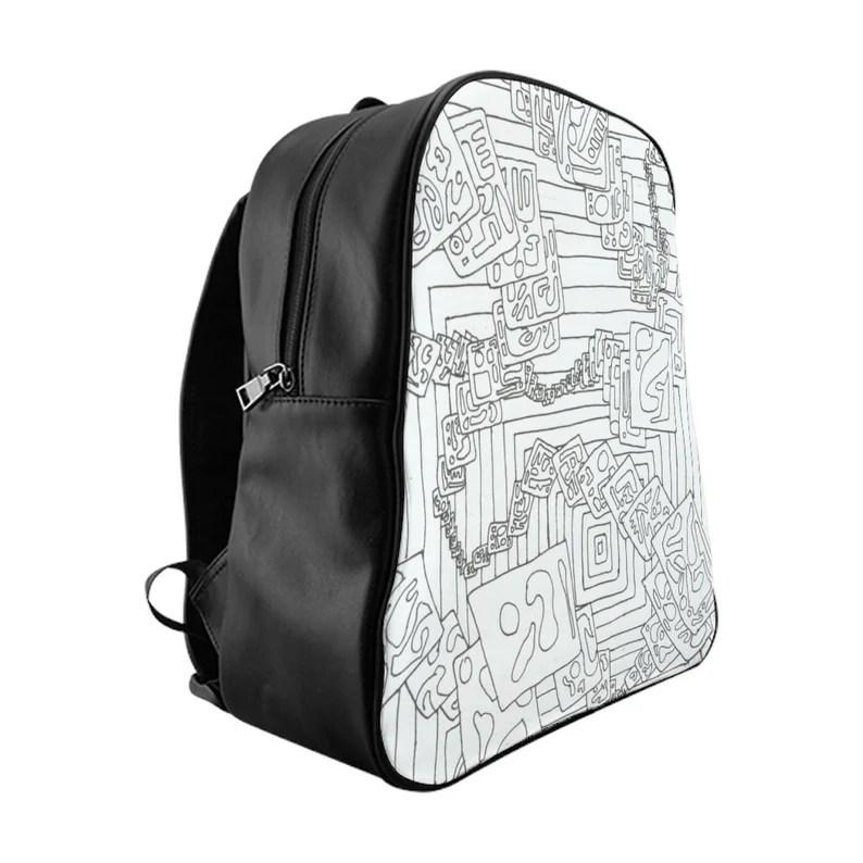 Cool Art PU Leather Backpack 3 sizes 15  Retro custom gift image 0