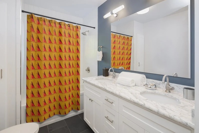 Cool Art Shower Curtain 13  Retro custom gift pop art line image 0