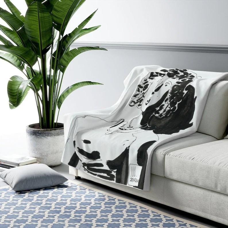 Cool Art Fleece Blanket 4  Retro custom gift aesthetic line image 0