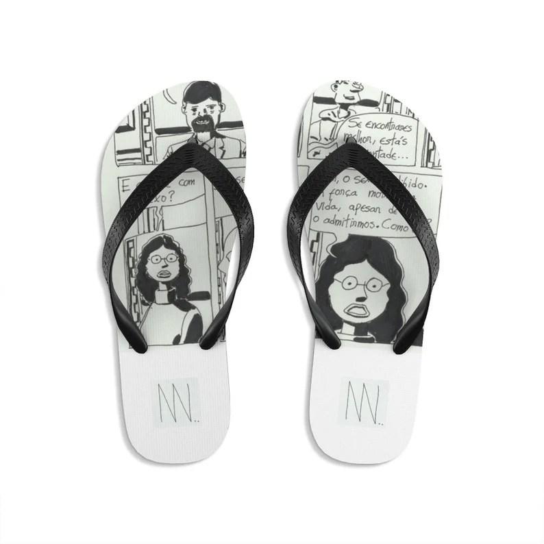 Cool Art Unisex Flip-Flops 6  Retro custom gift handmade pop image 0