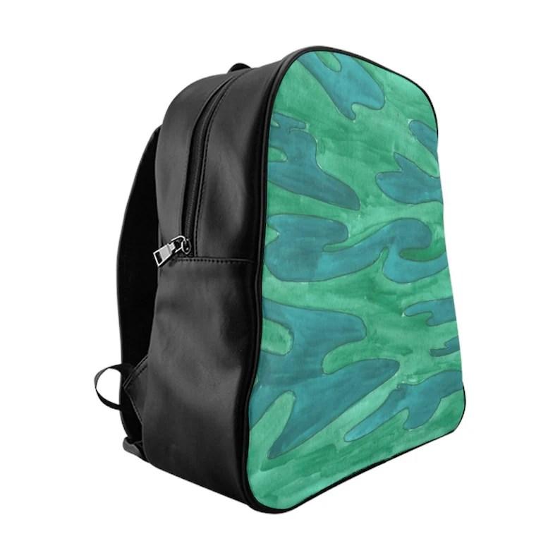 Cool Art PU Leather Backpack 3 sizes 11  Retro custom gift image 0