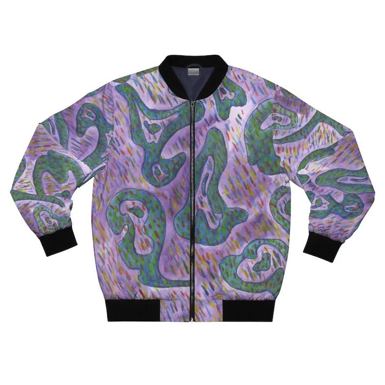 Cool Art Bomber Jacket 12  Retro custom gift aesthetic line image 0