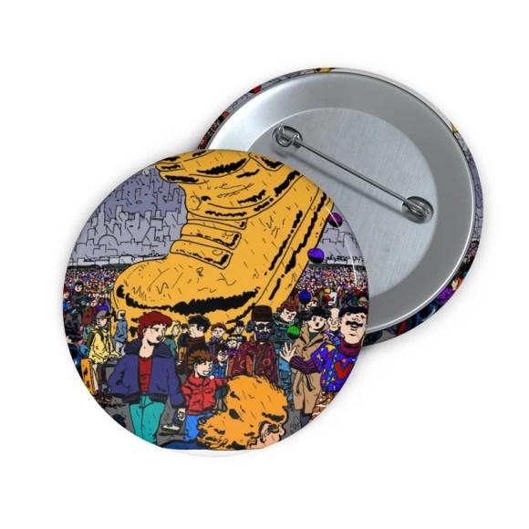 Urban Art Button Pin 2  Retro custom gift line art pop art image 0
