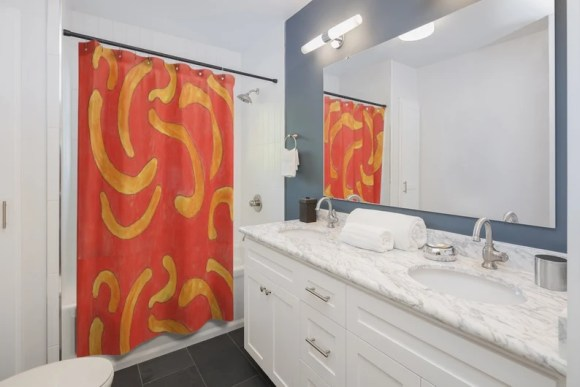 Urban Art Shower Curtain 4  Retro custom gift pop art line image 0