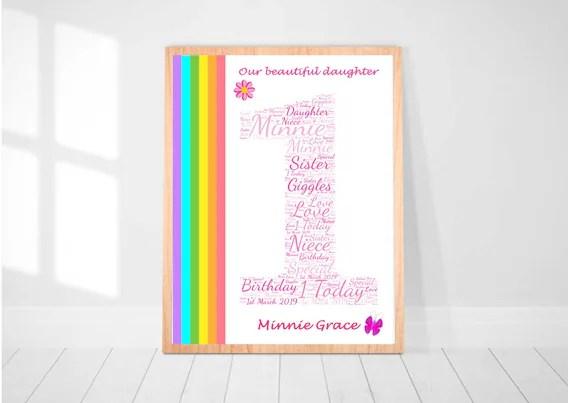 Personalised Girls 1st Birthday Word Art First Birthday Gift Etsy