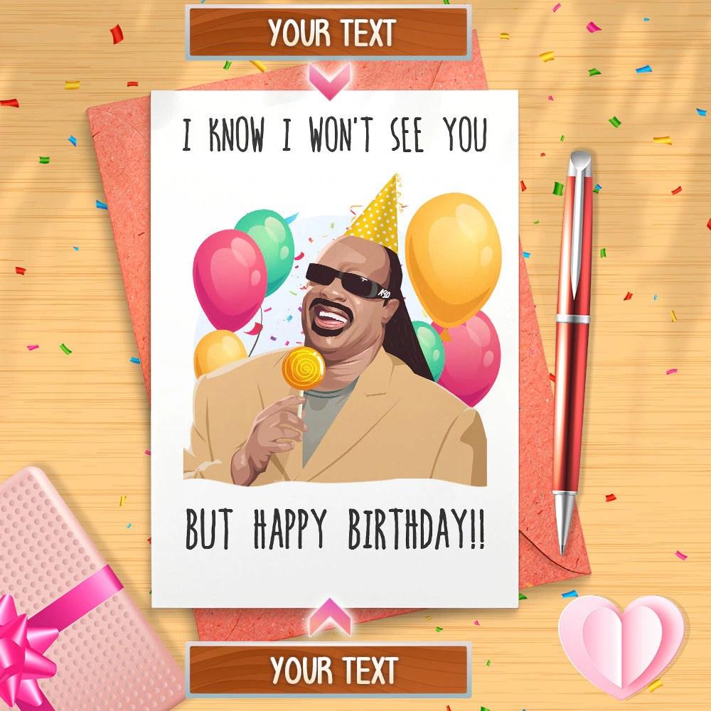 Funny Stevie Wonder Happy Birthday Card Happy Birthday Meme Etsy
