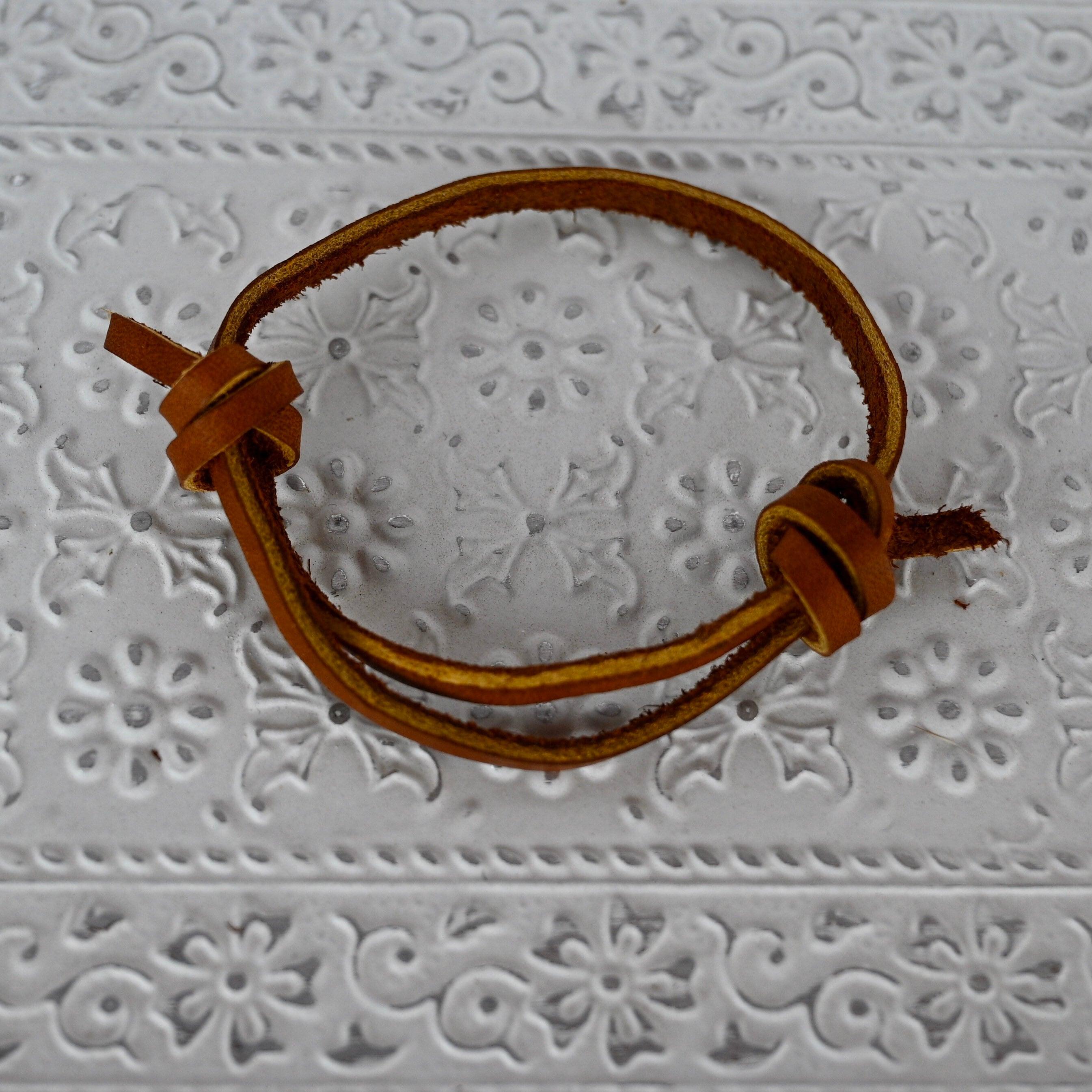 Brown Genuine Leather Bracelet/Adjustable Personalized image 2