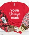 Christmas Mockup Bella Canvas 3001 Red Mockup Red T Shirt Etsy