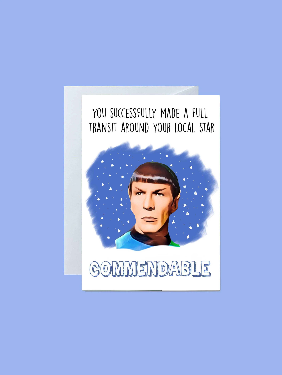 Star Trek Spock Birthday Card Funny Movie Cards Tv Space Etsy