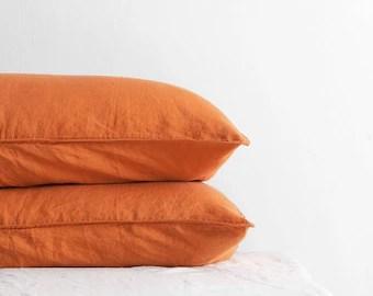 orange pillow sham etsy