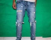 mnml M1 distressed zipper jeans