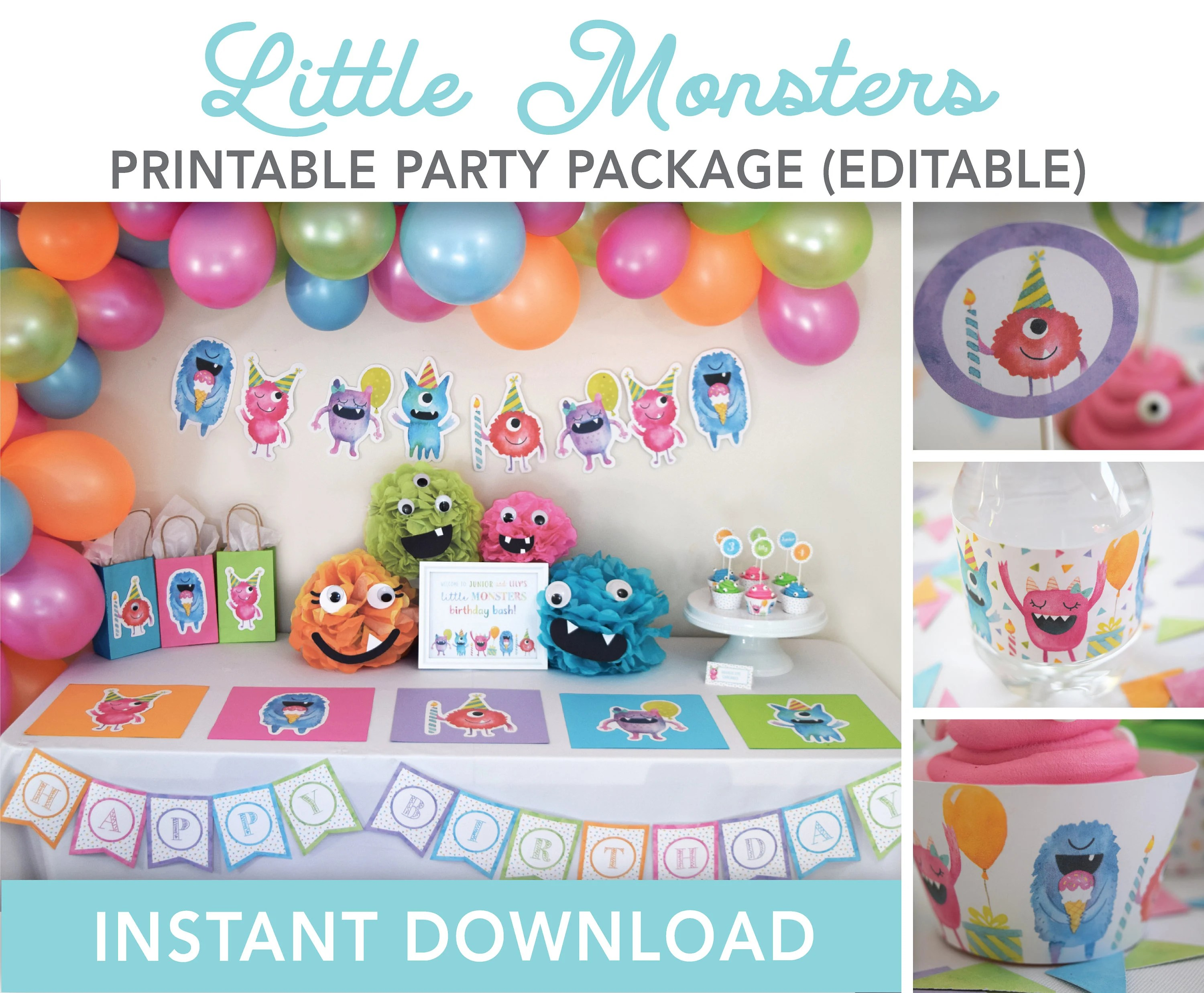 Monster Birthday Party Decorations Printable Package Little Etsy