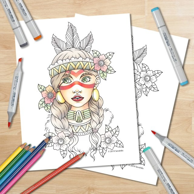 Print Your Own Adult Coloring Book Page - Native American Girl Traditional  Tattoo Flash - Instant Download - Printable Coloring Sheet