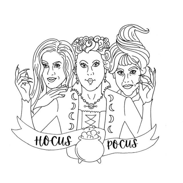 PRINTABLE Hocus Pocus Coloring Page Digital Download  Sanderson Sisters  Halloween Treat Bag Wall Art 14s Pop Culture