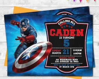 captain america invitation etsy