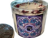Virgo Candle, Crystal + Herbal Candle, Large 3 Wick Candle, 14.5 oz, by Namaste Home, Virgo Gift
