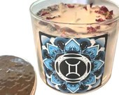 Gemini Candle Adorned w/ Rose Petals, Lavender Buds + Gemstones, 14.5 oz., Three Wick Candle by Namaste Home, Gemini Gift, Zodiac Gift