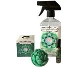 Namaste Home Sage Oil Gift Set, Heart Chakra Blend, 4 Piece Set w/ Bath Bomb, Multipurpose Cleaner, Roll on and Lotus Goat's Milk Soap