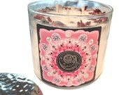 Aquarius Candle, Crystal Candle, Aquarius Gift, Herbal Candle w/ Rose Petals, Lavender Buds, 14.5 oz., Large 3 Wick Candle