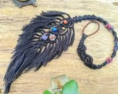 Macrame Feather Dread Dreadlock Wrap hair wrap - Black - boho Hippie Fae