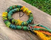 Green and Yellow Dread Wrap hair wrap - Made To Order from hand dyed wool and sari silk - forest Boho pixie Fae hippie woodland hair