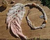 Macrame Feather Dread Wrap / Dangle hair wrap made to order with cotton and upcycled beads - Vegan friendly - hippie boho tribal witch hair